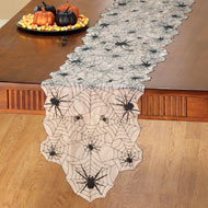 Halloween Spider Web Table Linens