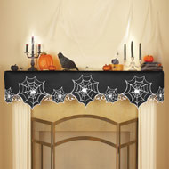 Halloween Creepy Spiders Mantel Scarf
