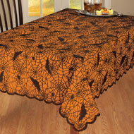 Halloween Spiders and Bats Tablecloth