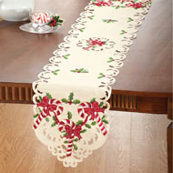 Embroidered Candy Cane Christmas Table Linens