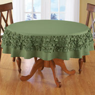 Solid Ruffle Round Tablecloth