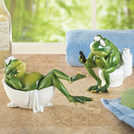 Lounging Bathroom Frog Figurine