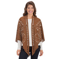 Faux Suede Cut Out Shawl - 39983
