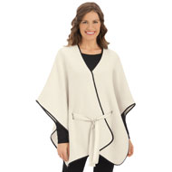 Faux Leather Trimmed Belted Poncho - 39986