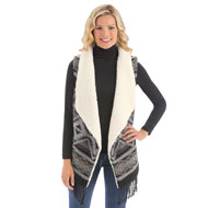 Aztec Fringe Trim and Sherpa Fleece Vest - 39988