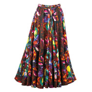 Floral Print Full Sweep Long Skirt - 39998