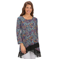 Paisley Printed Tunic with Mesh Hemline - 39999