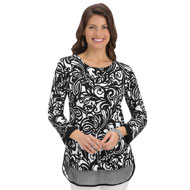 Abstract Floral Tunic with Mesh Hemline