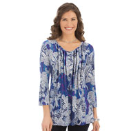 Paisley Printed V-Neck Pintuck Tunic