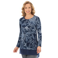 Paisley Top with Sheer Shirttail Hem