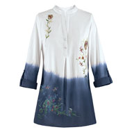 Dip Dyed Floral Embroidered Blouse