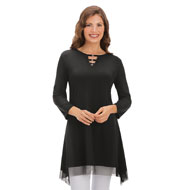 Embellished Knit Tunic with Mesh Hemline