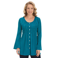 Smocked Button Down Blouse - 40135
