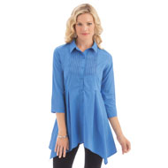 Pintuck Button Down Sharkbite Tunic - 40136