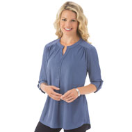 Faux Suede Roll Tab Sleeve Top - 40138