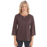 Faux Suede Bell Sleeve Top - 40139