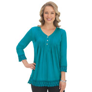 Pleated Pintuck Tunic with Lace Hemline - 40140