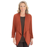 Faux Suede Laser Cut-out Cascade Jacket - 40143