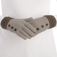 Ultra Soft Knit Winter Gloves with Button Detail