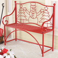 Snowman Red Metal Outdoor Bench - 40362