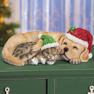 Snuggling Dog & Cat Christmas Decoration