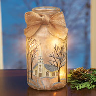 Frosted Christmas Mason Jar Table Lamps - 40391