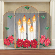 Lighted Candle Decorative Fireplace Screen - 40407