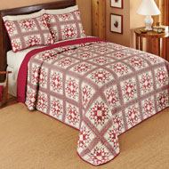 Allspice Patchwork Star Bedspread - 40467