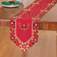 Poinsettia Sequin Christmas Table Linens - 40494