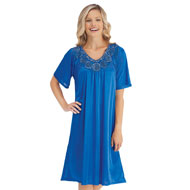 Sequin & Rosette Trim Tricot Nightgown - 40547