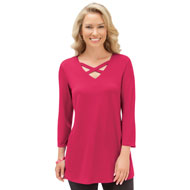Lattice V-Neck 3/4 Sleeve Tunic Top - 40551