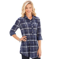 Plaid Knit Tunic Top w/ Roll Tab Sleeves - 40557