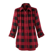 Buffalo Plaid Pintuck Tunic Top - 40558