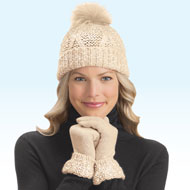 Lurex Winter Gloves & Pom Pom Hat Set - 40592