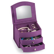 Purple 2-Drawer Mirror Jewelry Box - 40600