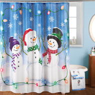Snowman Trio Christmas Shower Curtain - 40682