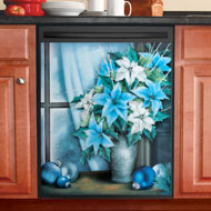 Icy Blue Poinsettia Dishwasher Magnet - 40720