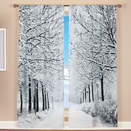 Winter Trees Scenic Window Curtains Set - 40735