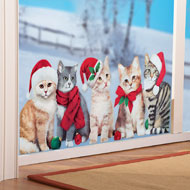 Santa Cats Christmas Window Cling - 40765