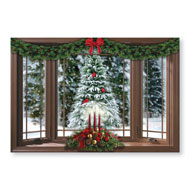 Frosted Pine Christmas Window Wall Decal - 40767