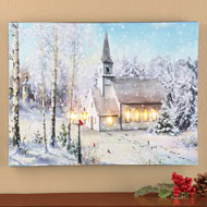 Snowy Church Lighted Canvas Wall Art
