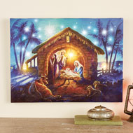 Nativity Scene Lighted Wall Canvas Art
