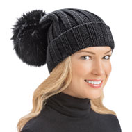 Ribbed Knit Pom Pom Winter Hat - 40818