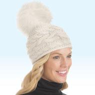 Cable Knit Hat with Large Pom Pom