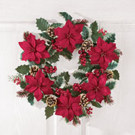 Poinsettia and Pine Holly Christmas Wreath - 40855