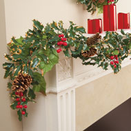 Elegant Holly & Pinecone Christmas Garland
