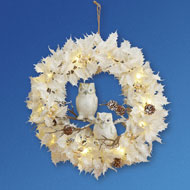 Lighted White Christmas Wreath w/ Owls - 40881