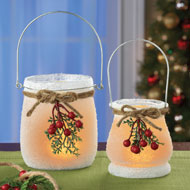 Frosted Berry Hurricane Candle Holders