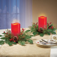 Holly and Pine LED Red Candle Set