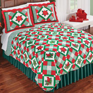 Poinsettia Holly Christmas Patchwork Quilt